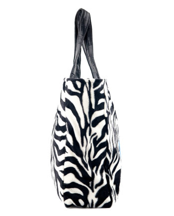 Shopping donna animalier zebra con rose applicate - apiedinudinelparco collezioni